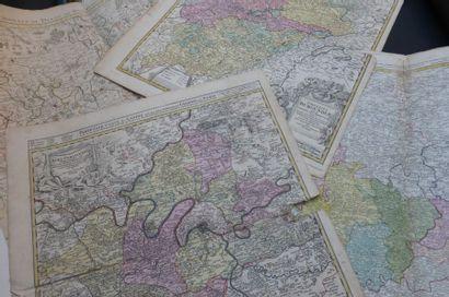 CARTES ANCIENNES  Lot de 9 cartes XVIII°...