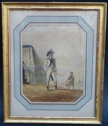 Ecole française du XVIIIème siècle  Officier...