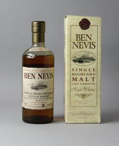 1 Bouteille WHISKY BEN NEVIS 26 ANS D'AGE...