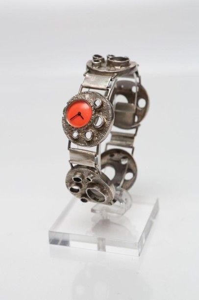 Bracelet montre de dame en argent 925 millièmes...