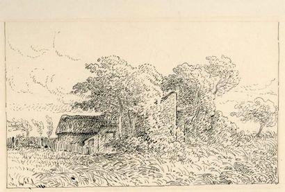 Léopold LEVERT (1828-1882)  Paysages  Plume et encre noire, cachet au dos  13,7...