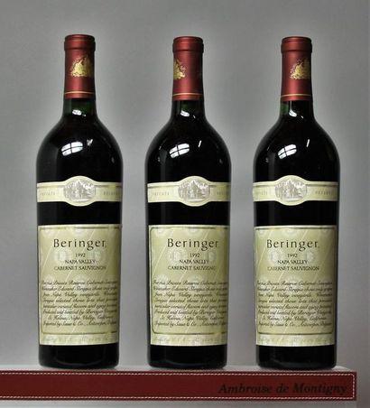 3 bouteilles Etats Unis : 1 bouteille BERINGER...