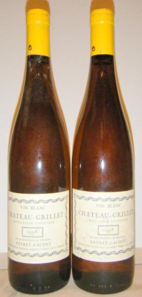 2 bouteilles CHÂTEAU GRILLET 1998 1 étiquette...