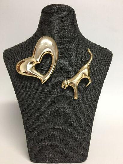 AGATHA  2 Broches Coeur et Panthère en métal...