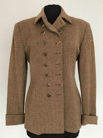 RALPH LAUREN  Veste en lainage à petit chevron...