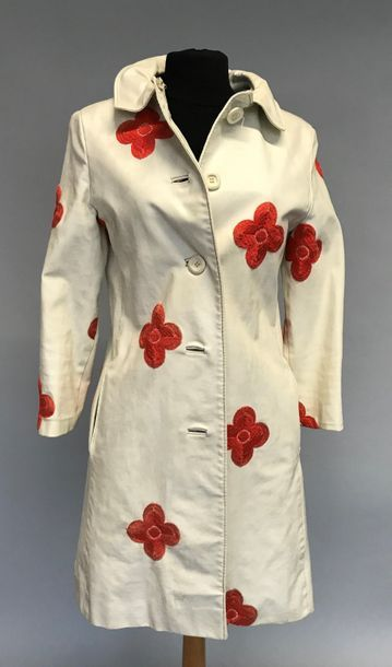 AQUANALA  Manteau de cuir blanc brodé de...