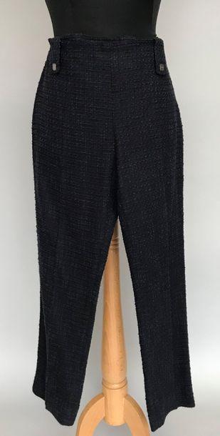 CHANEL  Pantalon en lainage chiné marine...