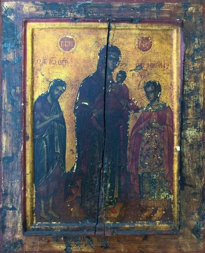ICONE Vierge tenant l'enfant Jésus entouré...