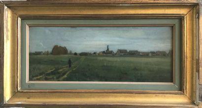 Léon DIERX (1841-1912)  Scène de village...