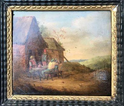Ecole du XVIIème siècle  Scène de Taverne...
