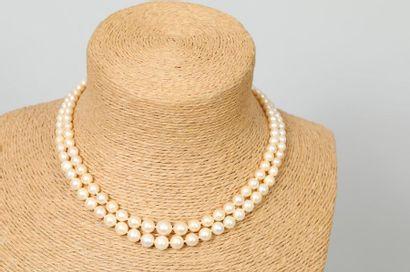 Collier à double rangs de perles de culture...