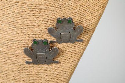 CARTIER NEW YORK  Paire de grenouilles en...