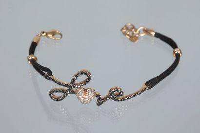 Bracelet Love cordonnet noir et or 750 millièmes...