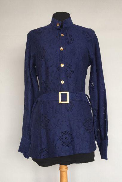 GUY FLEURY Tunique en dentelle de coton bleu...