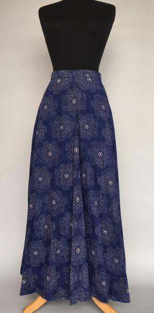 Jupe longue en coton bleu nuit imprimé de...