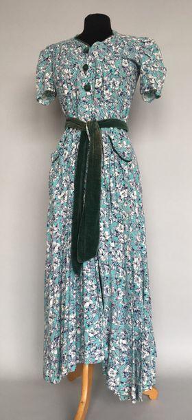 Robe blouse en coton turquoise imprimé de...