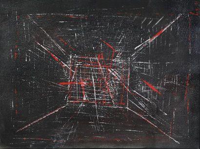 Bernard QUENTIN (né en 1923)  Composition 1951  Gouache sur papier monogrammée et...
