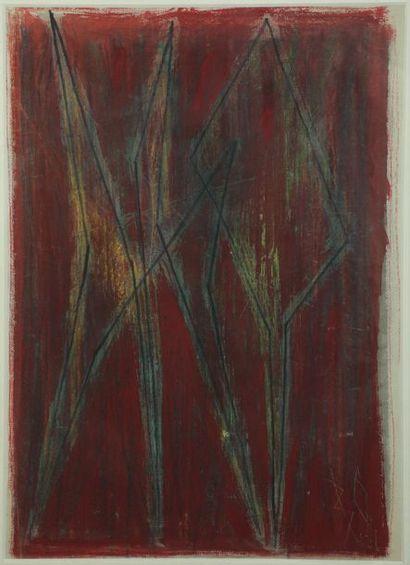 Bernard QUENTIN (né en 1923)  Composition  Technique mixte sur papier monogrammée...
