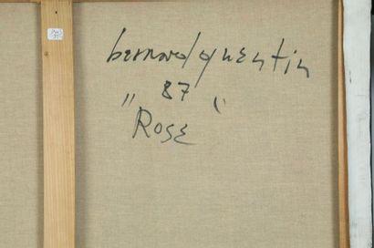 Bernard QUENTIN (né en 1923)  Rose 1987  Acrylique et fibre textile sur toile, signée,...
