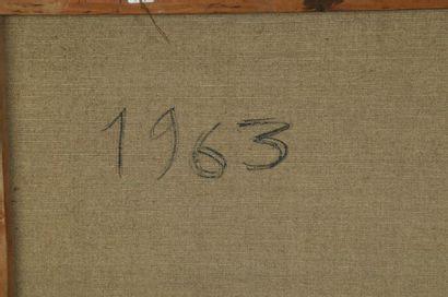 Huguette Arthur BERTRAND (1922-2005)  Composition 1963  Huile sur toile signée en...