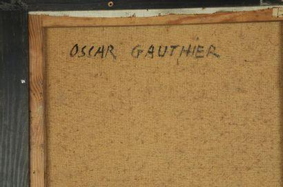 Oscar GAUTHIER (1921-2009)  Composition CQ-ZZQ  Huile sur toile, signée, datée 54...