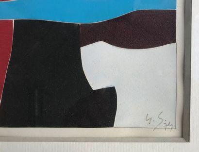 Gustave SINGIER (1909-1984)  Composition en rouge  Collage, aquarelle et gouache...