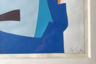 Gustave SINGIER (1909-1984)  Composition en bleu  Collage, aquarelle et gouache...