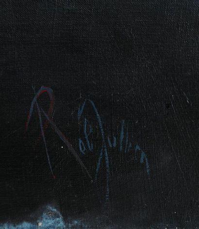 Rob JULLIEN (1931-1991)  Le rejet  Huile sur toile signée en bas à droite et contresignée,...