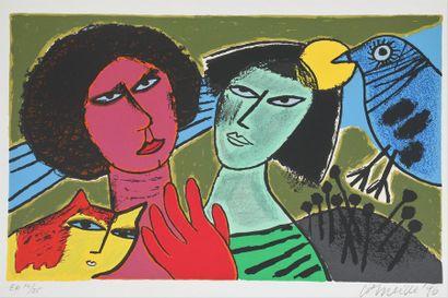 Guillaume van BEVERLOO dit CORNEILLE (1922-2010)  Les 2 amies  Epreuve d'artiste...