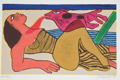 Guillaume van BEVERLOO dit CORNEILLE (1922-2010)  Le baiser  Epreuve d'artiste numérotée...
