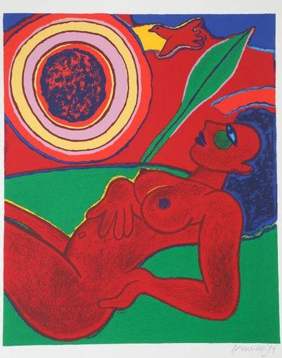 Guillaume van BEVERLOO dit CORNEILLE (1922-2010)  Le nu rouge en été  Lithographie...