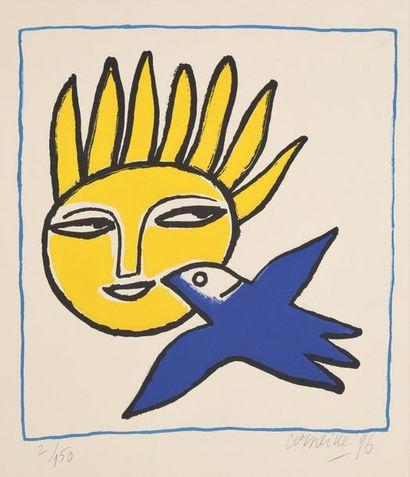 Guillaume van BEVERLOO dit CORNEILLE (1922-2010)  L'oiseau et le soleil  Lithographie...