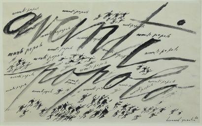 Bernard QUENTIN (né en 1923)  Avanti Popolo  Lavis et encre de Chine, signé et daté...