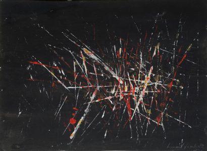 Bernard QUENTIN (né en 1823)  Composition 1959  Gouache sur papier signée et datée...