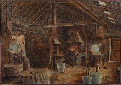 Ecole Française vers 1902  La forge  Huile...