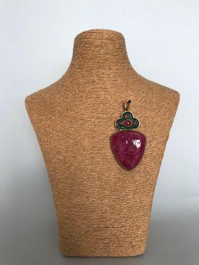 GALITZINE  Broche pendentif coeur en métal...