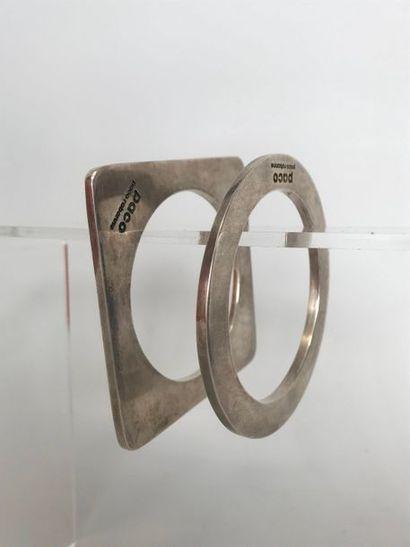 PACO RABANNE  2 Bracelets circulaire et carré...