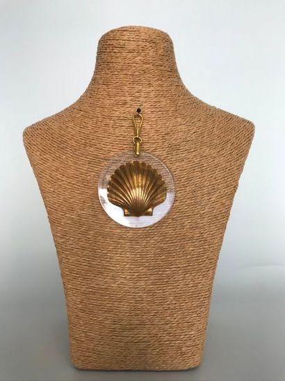 Pendentif à bélière mousqueton en plexi circulaire...