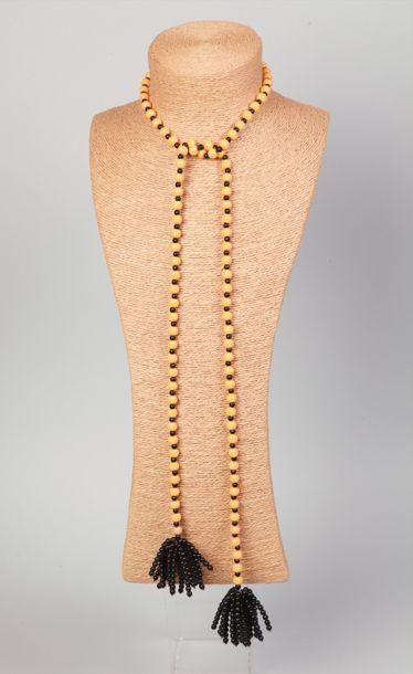 WOLLOCH  Collier cravate à pompons en perles...