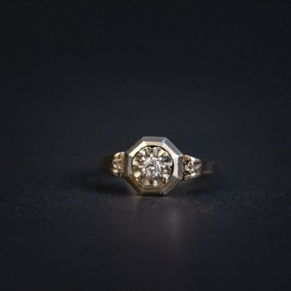 Bague Tank, diamant taille brillant, 0.10...