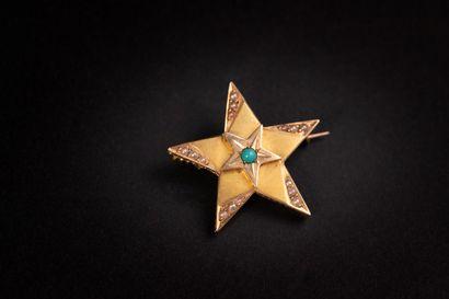 Broche étoile en or mat ,demi perles, turquoise...