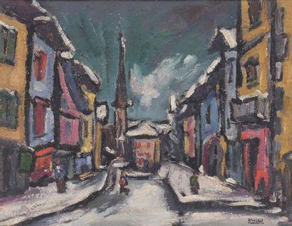 ECOLE FRANCAISE XXe  Ville sous la neige...