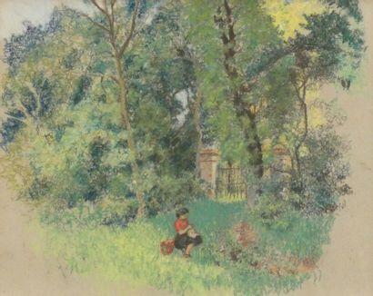 Attribué à Henri DELESTAING  Jeune fille...
