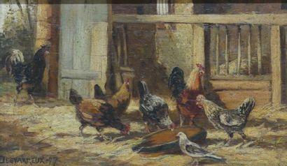 DESVARREUX (1876 - 1961)  Les poules  Huile...