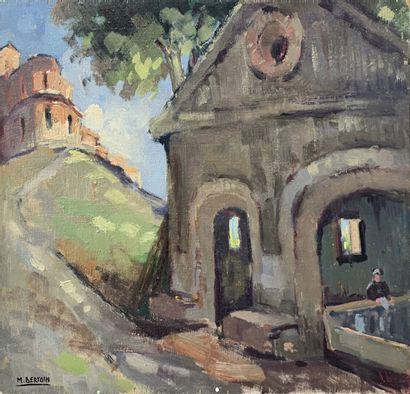 Marcel BERTOIN (1897-1983)  Vue de lavoir...