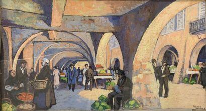 Roger BRODERS (1883-1957)  Uzès, la place...