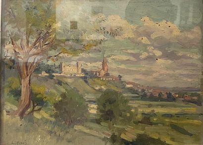 L. AZAIS (XXe)  Paysage des environs de Toulouse...