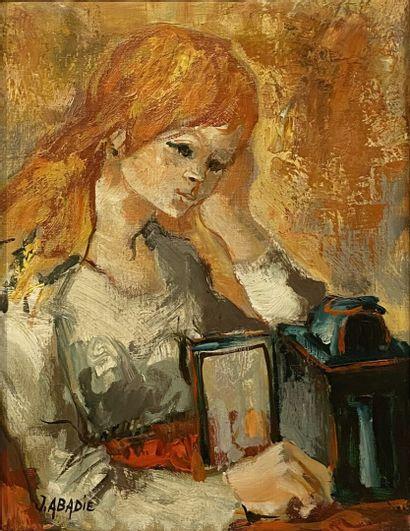 Jean ABADIE (1921-2010)  Femme à la lampe...