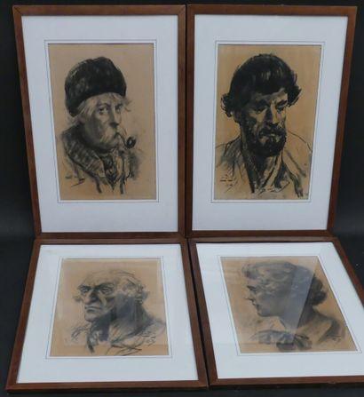 ECOLE FRANCAISE  Suite de quatre portraits...
