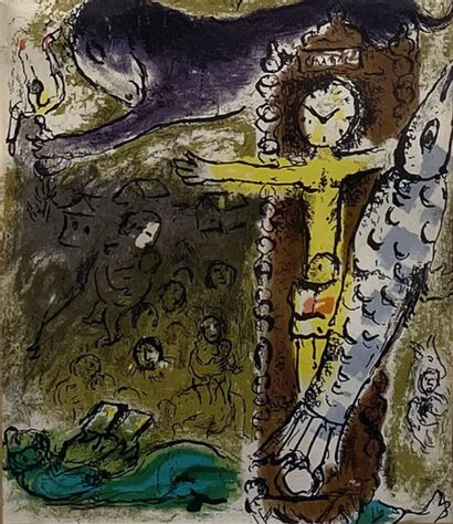 Marc CHAGALL (1887-1985)  Christ à l'horloge...